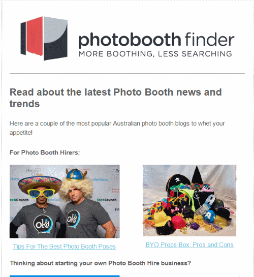 Photobooth Finder Newsletter Advertising